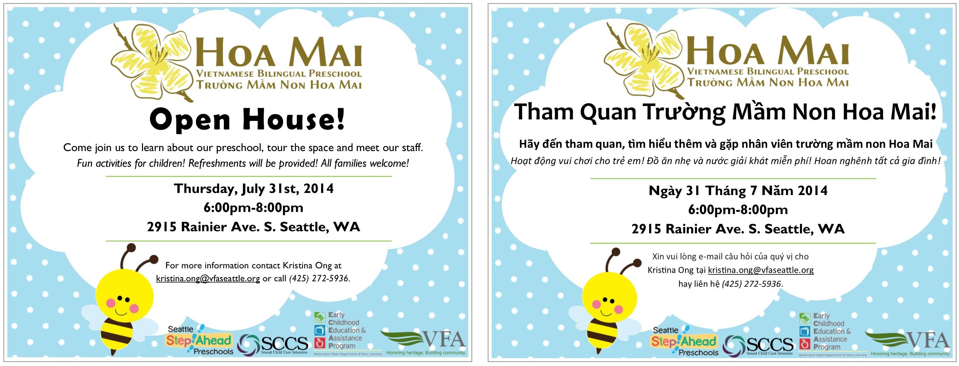Hoa Mai Open House Party Thursday, July 31, 2014! | Hoa Mai Vietnamese Bilingual Preschool